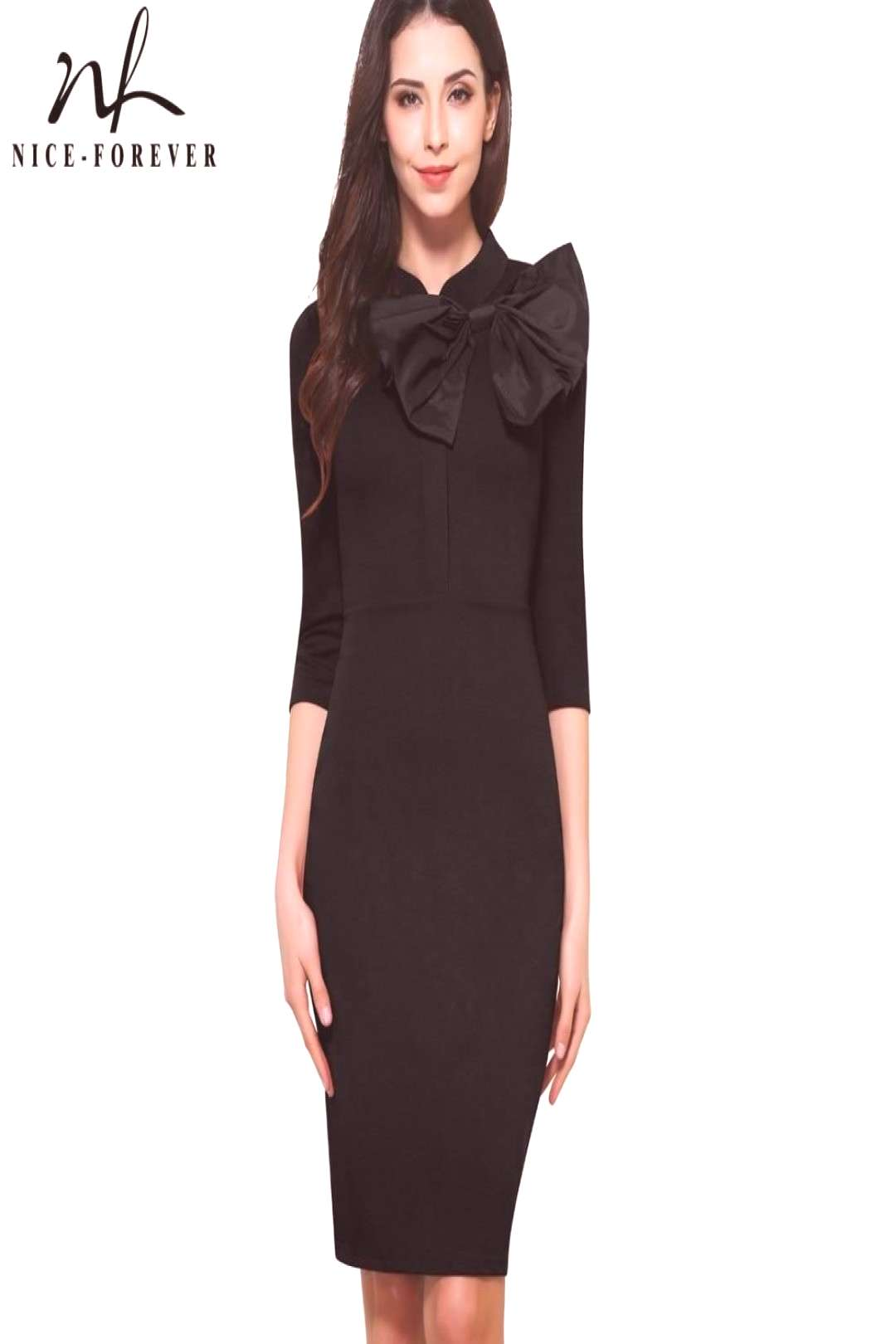 Nice-forever Vintage Bow Solid color Office Ladies dress Sheath Fitted Bodycon Elegant pencil Dress
