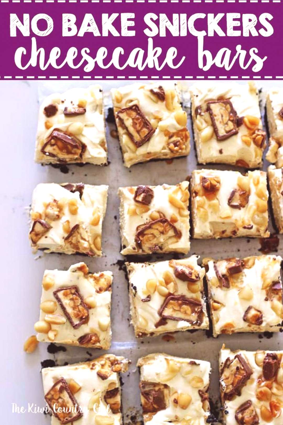 No Bake Snickers Cheesecake Bars - a new flavour of our favourite dessert, easy no bake cheesecake