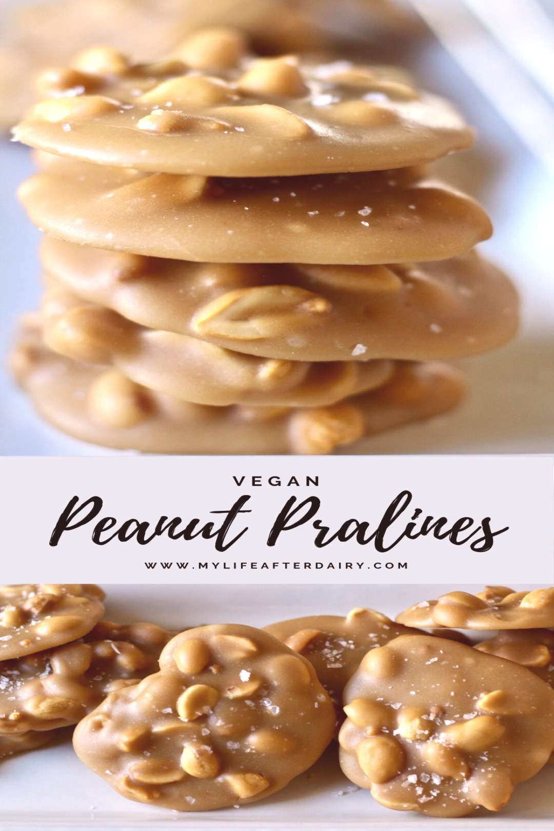 Peanut Pralines Peanut Pralines are a sweet dessert that are lightly topped with flakes of sea salt