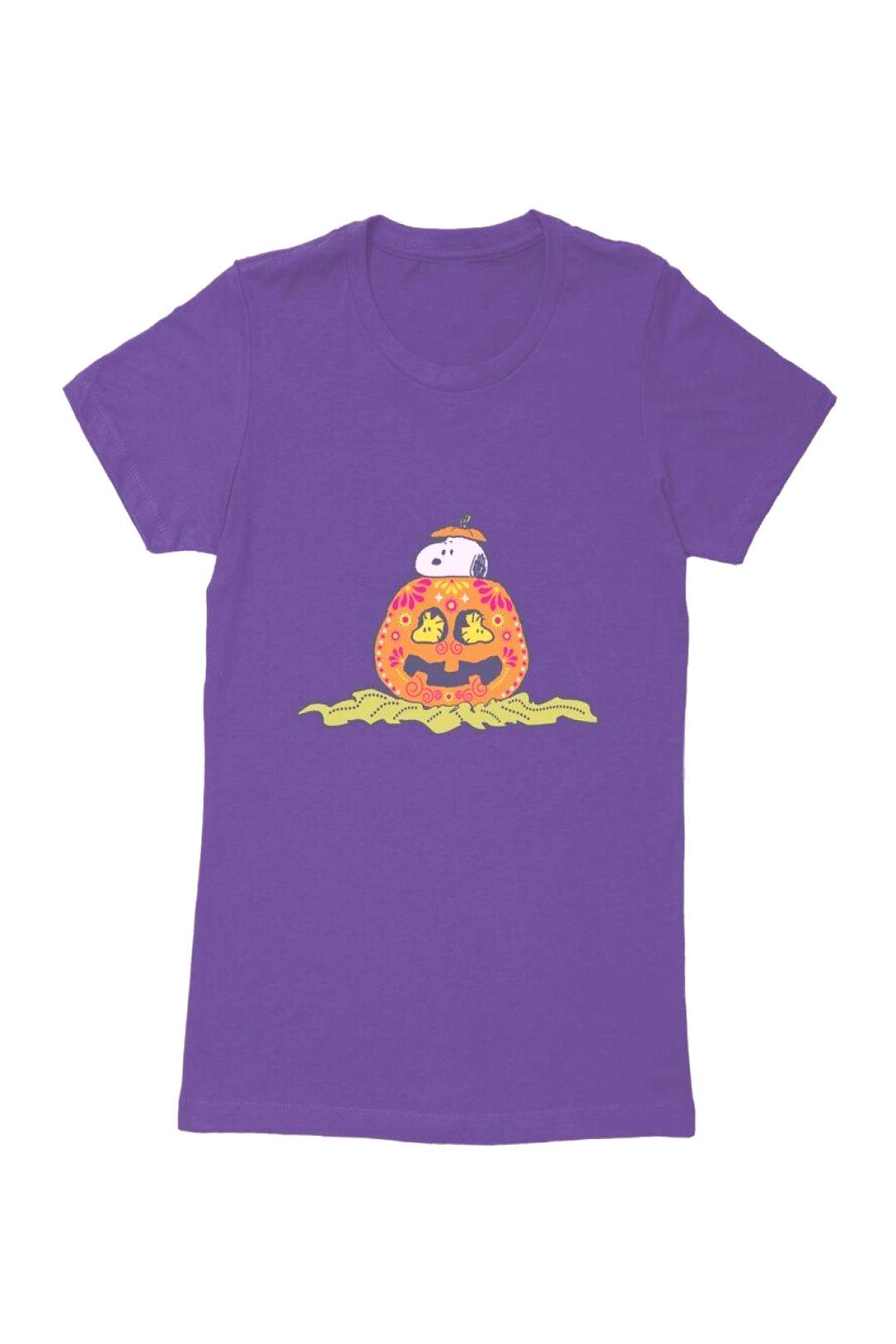Peanuts Snoopy Day Of The Dead Pumpkin Womens T-Shirt -  Peanuts Snoopy Day Of The Dead Pumpkin Wom