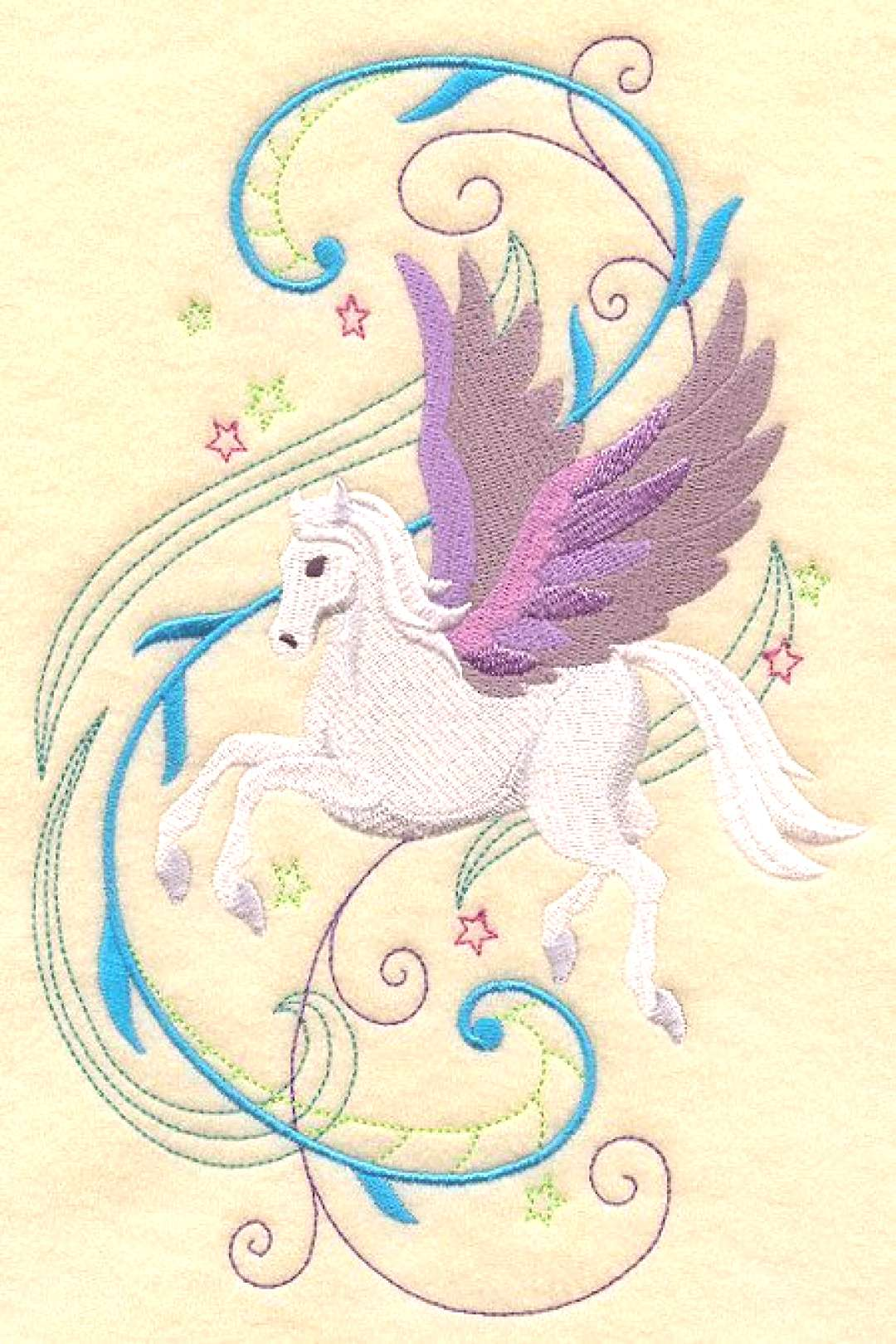 PEGASUS In FANTASY FLIGHT - Maschinengestickter Quiltblock (AzEB) PEGASUS In FANTASY FLIGHT - Masch
