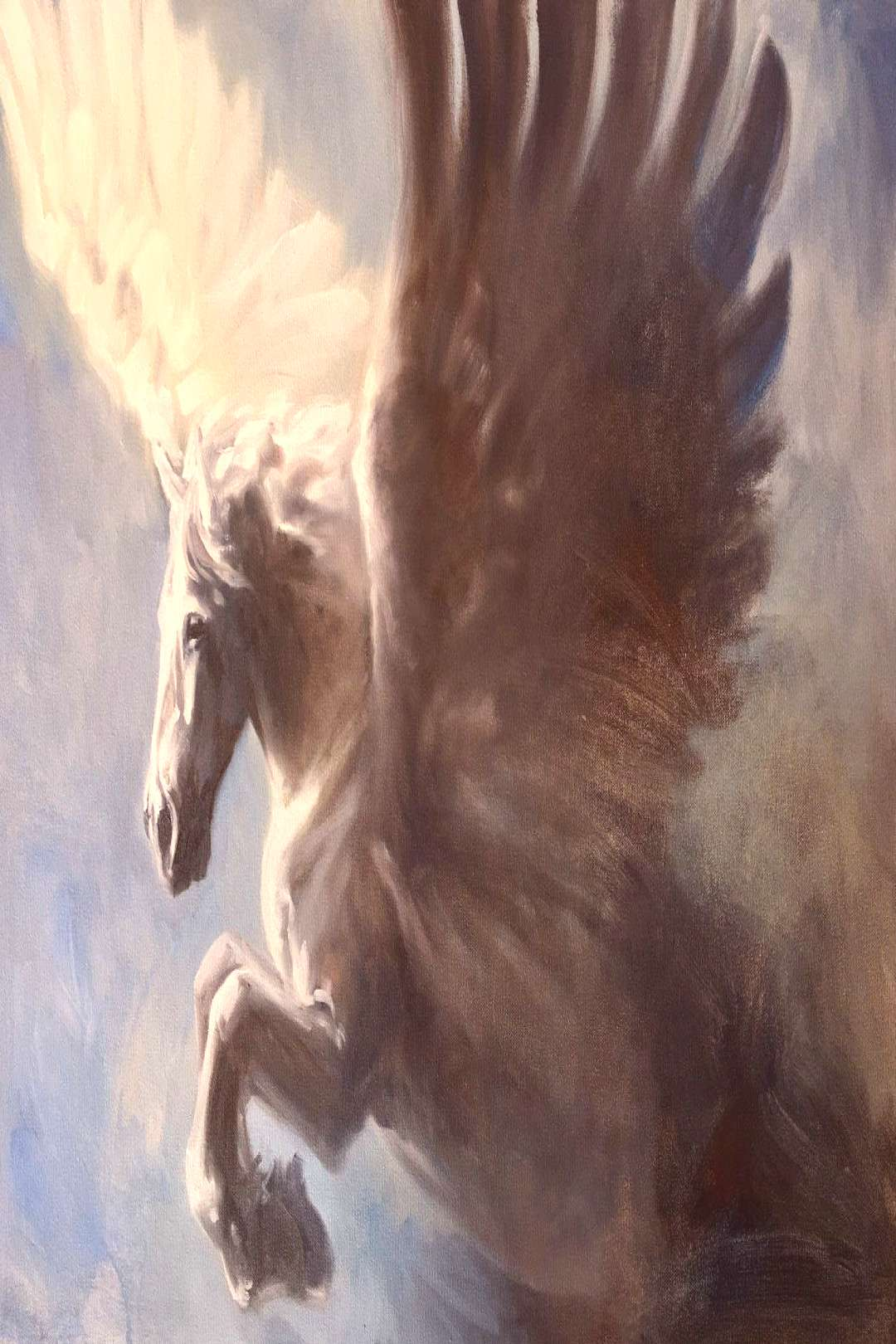 Pegasus, original art oil painting of a white winged horse by Canadian Artist Kindrie Grove - -