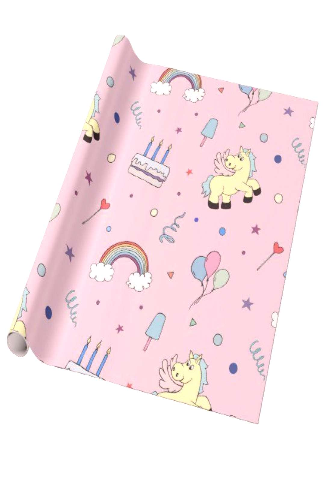 Pegasus party props | light pink kid birthday wrapping paper