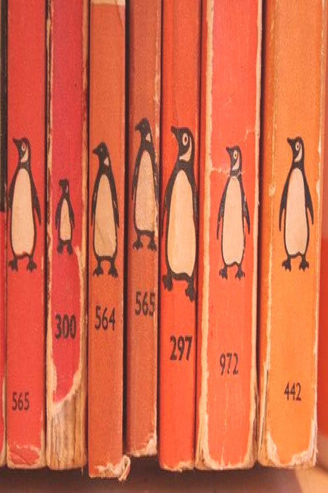 penguin books - rows upon rows of them in the shop - orange, green, blue, yellow, pink, white, thos