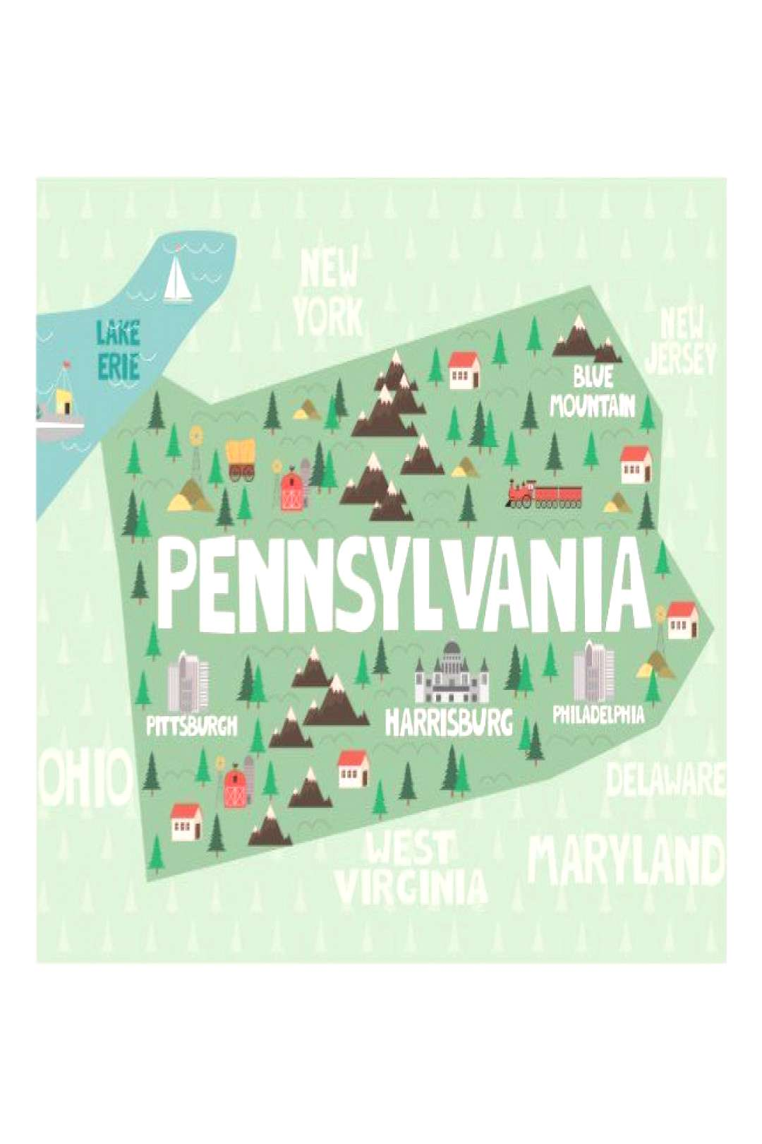 Pennsylvania Illustrated Map Postcard