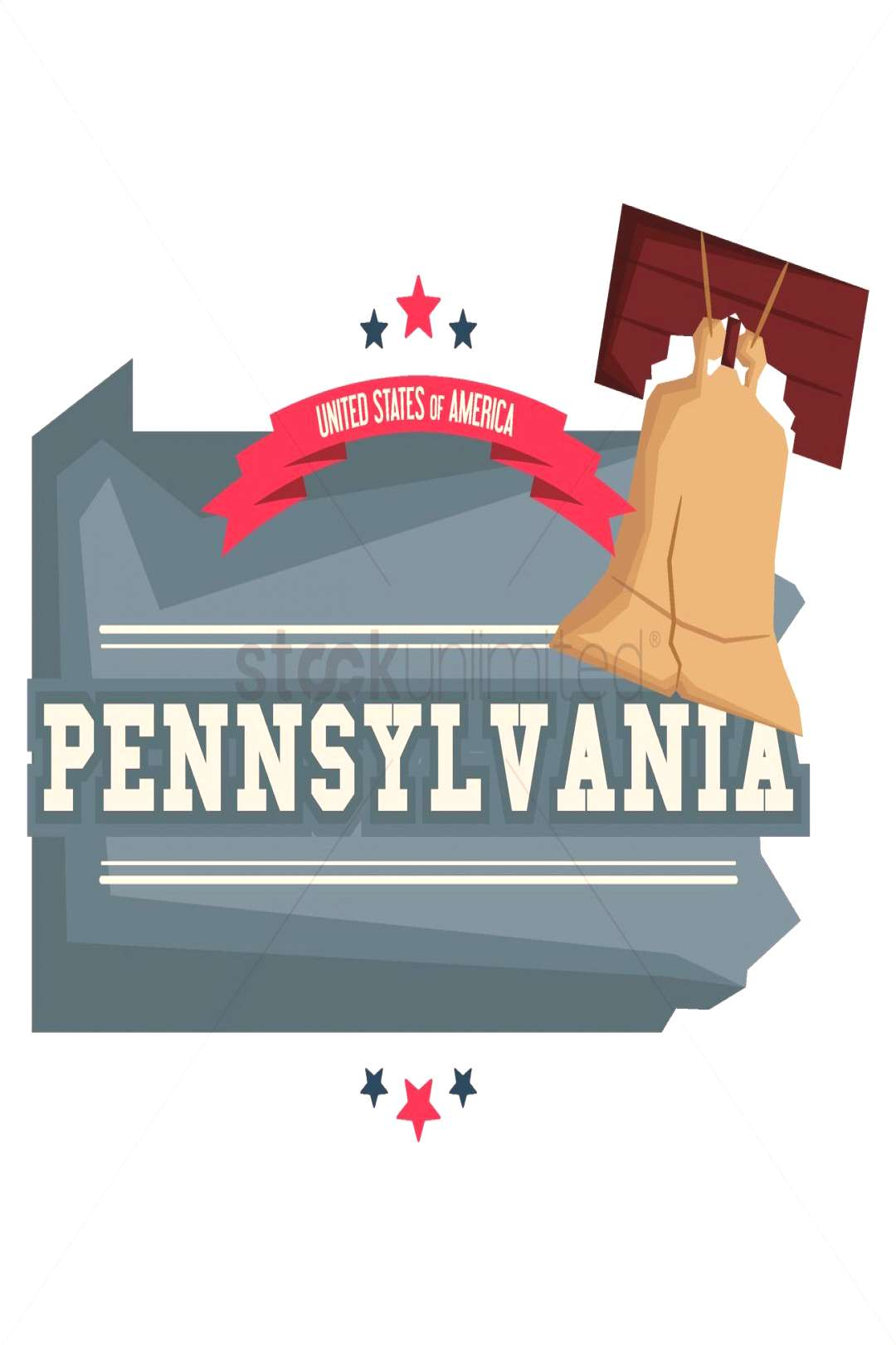 Pennsylvania map with liberty bell vectors, stock clipart ,
