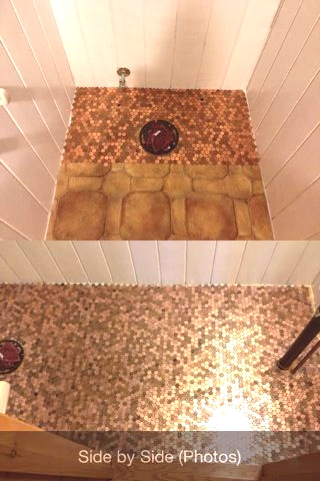 Penny bathroom floor...consisting of lots of pennies, two part epoxy, and lots o...#bathroom