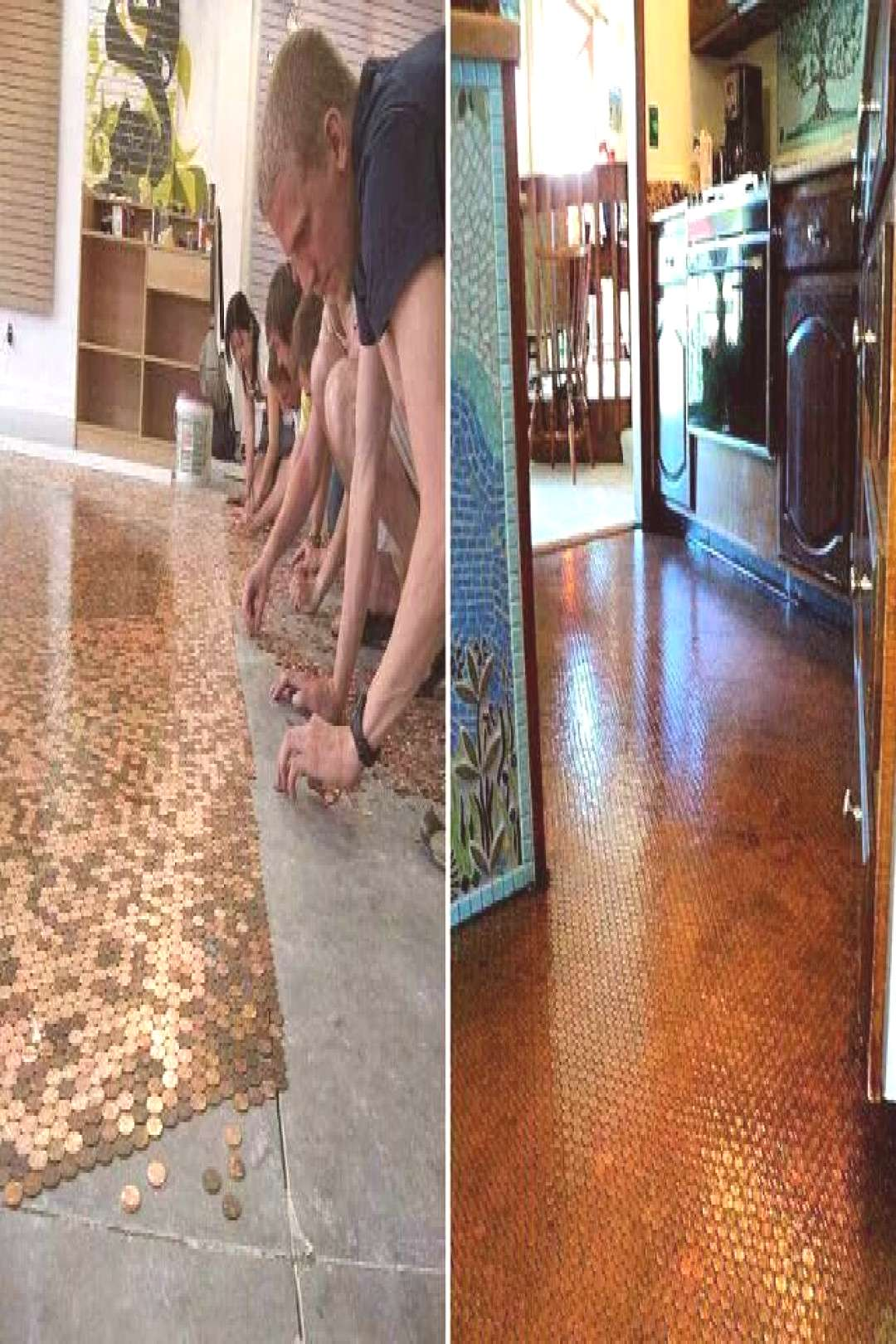 Penny floor. Pennies, grout, and resin. Less than $3 sqft.#floor