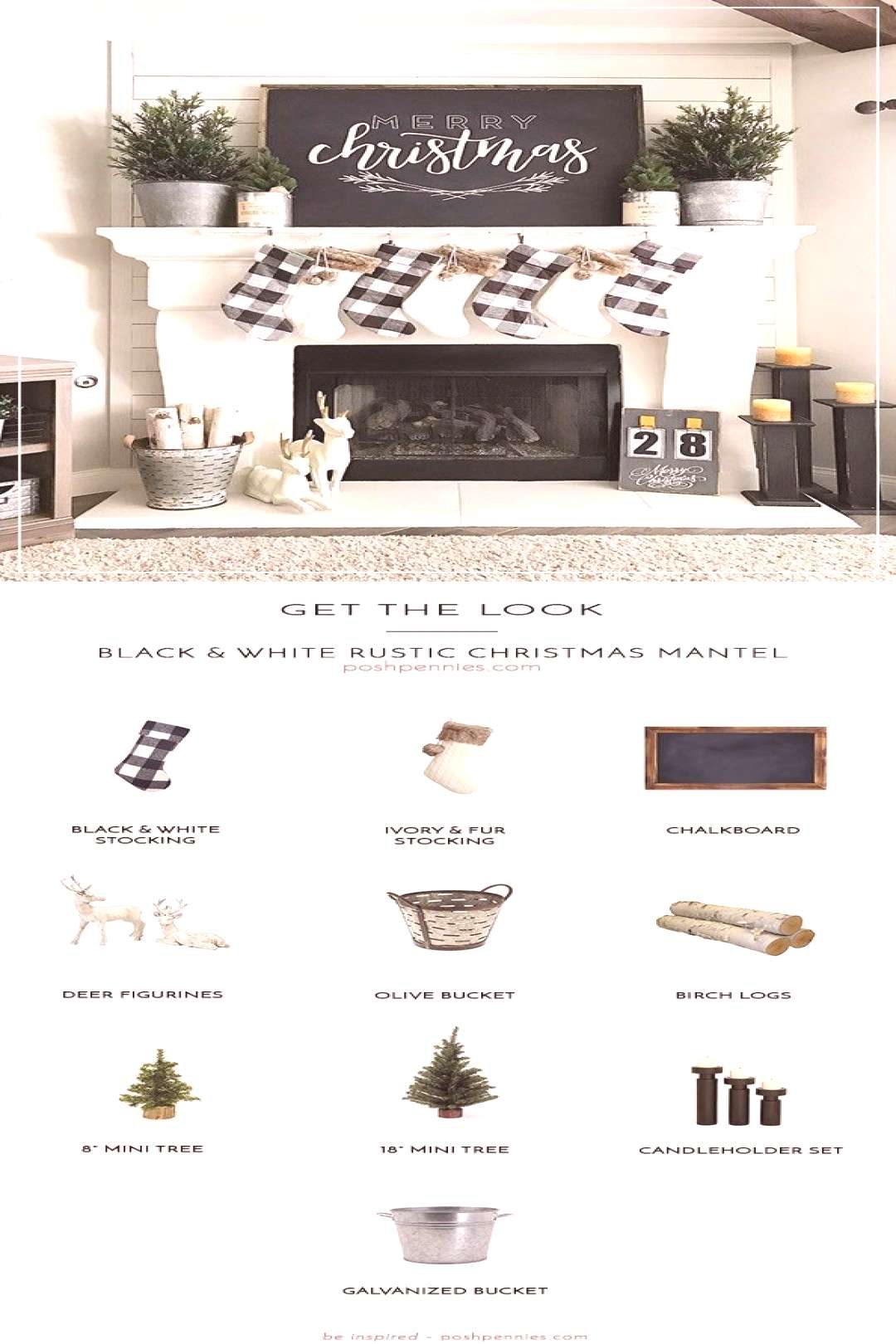 posh Learn how to recreate this amazing black and white rustic Christmas mantel! Spruce up your hol