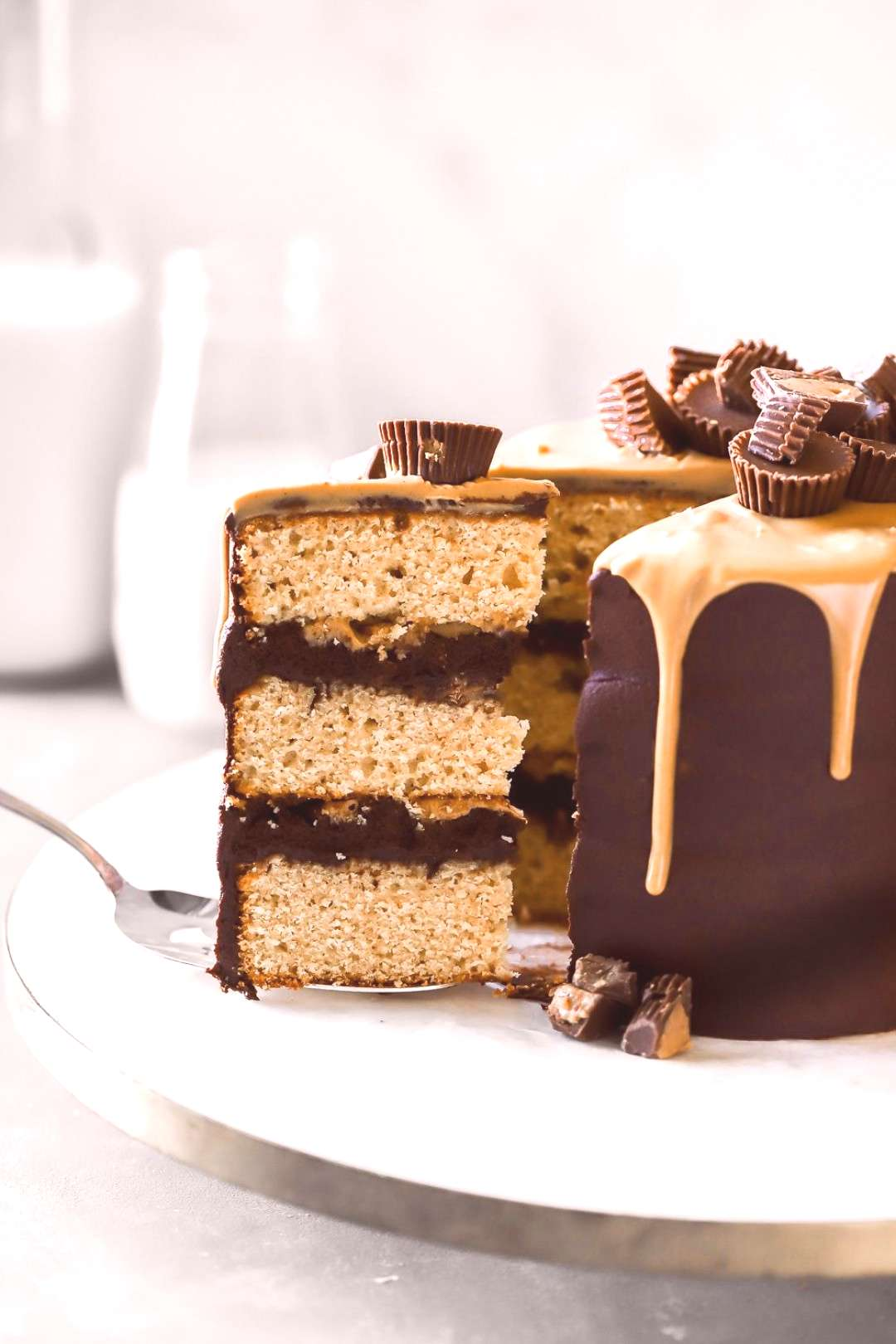 Reese's Peanut Butter Chocolate Cake Peanut butter cake layers topped with the BEST dark chocolat