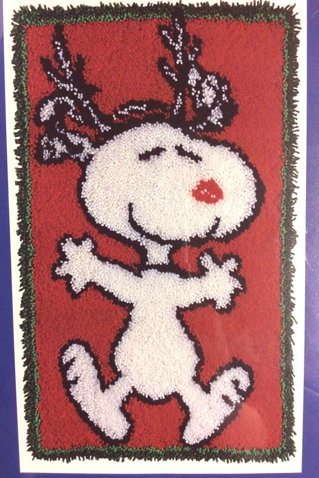 Reindeer Snoopy Latch Hook Kit J&P Coats Christmas Peanuts Hooked Wall Hanging Rug Kit Acryli... Re