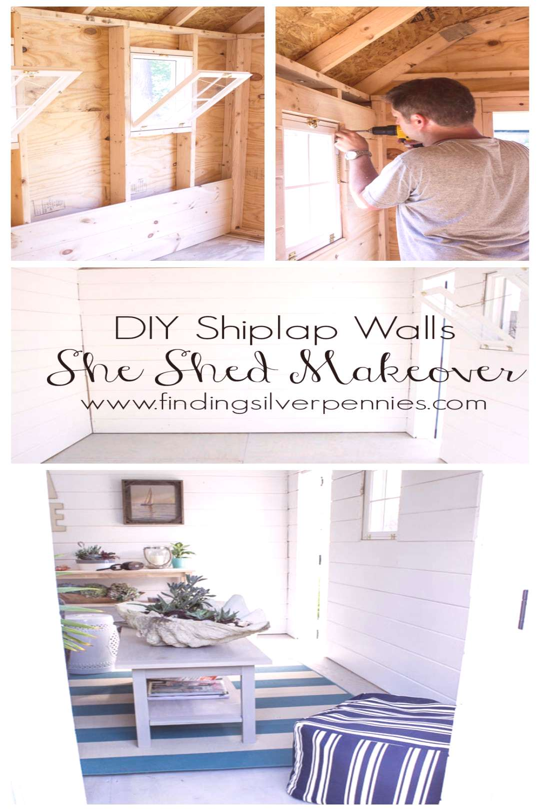 She Shed DIY Shiplap Walls - Finding Silver Pennies