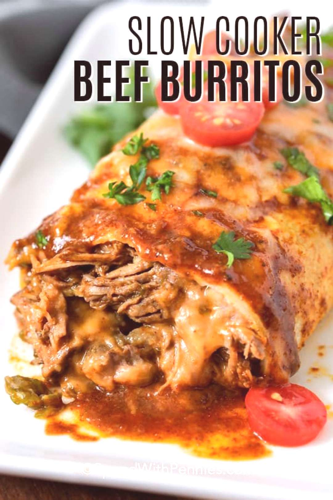 Slow Cooker Beef Burritos {Great for a Crowd} - Spend With Pennies -