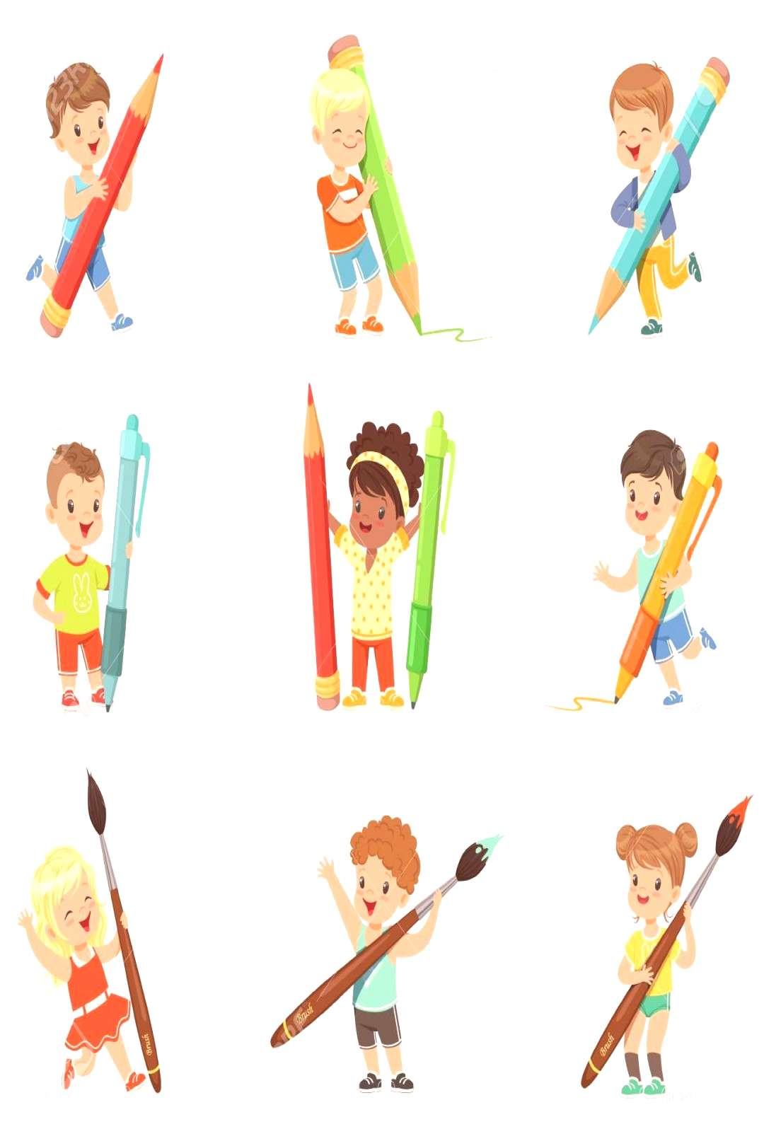Smiling young boys and girls holding big pencils, pens and paintbrushes, set for label design. Cart