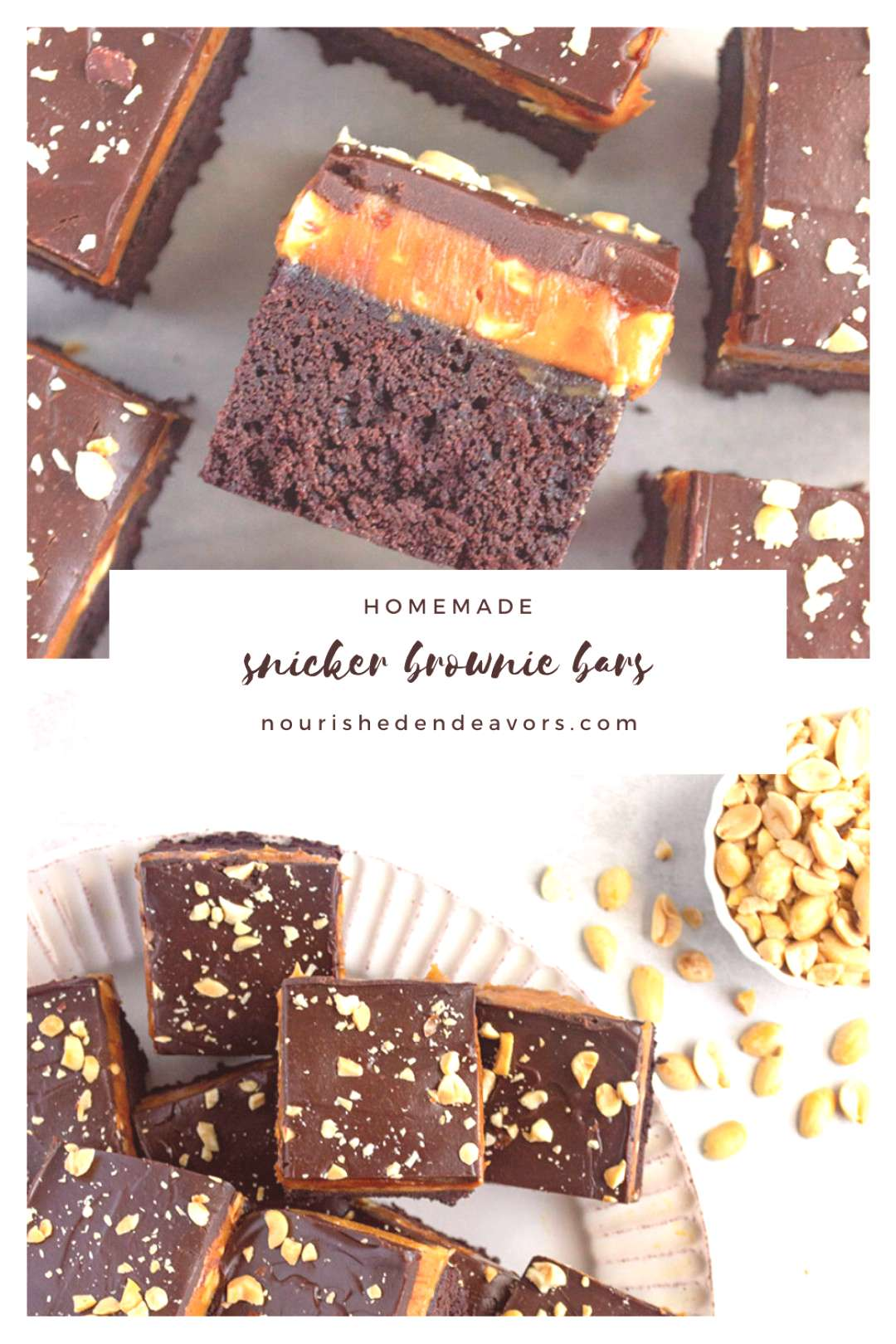 Snicker Brownie Bars These snicker brownie bars are the perfect combination of a cakey brownie topp