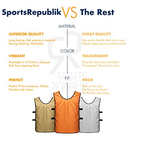 SportsRepublik Pinnies Scrimmage Vests for Kids, Youth and