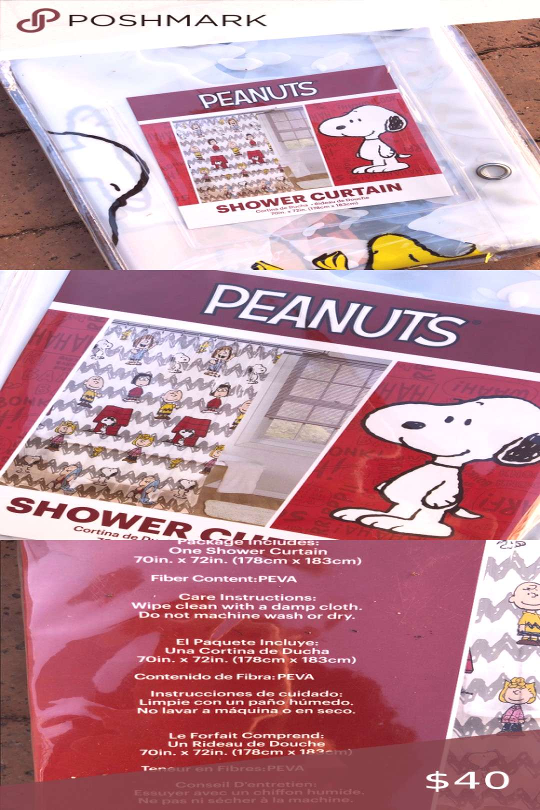 Spotted while shopping on Poshmark NWT Peanuts shower curtain Snoopy shower curtain!