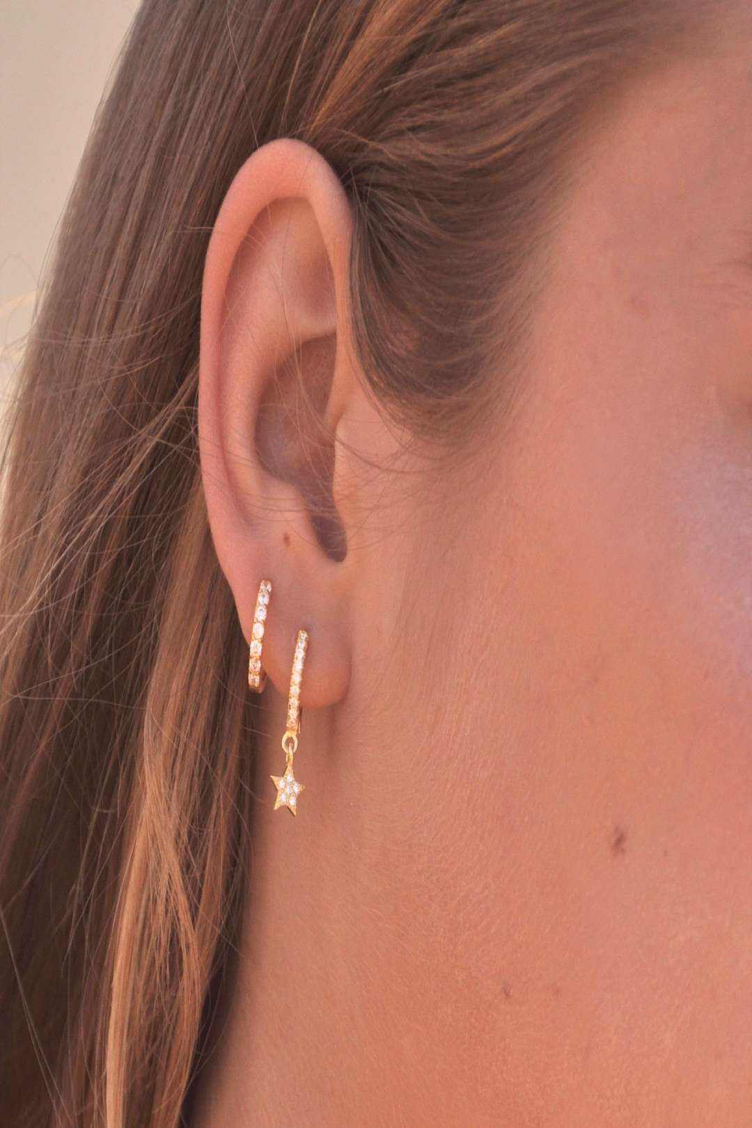 STAR PAVE HUGGIE EARRINGS – V THE LABEL Jewellery