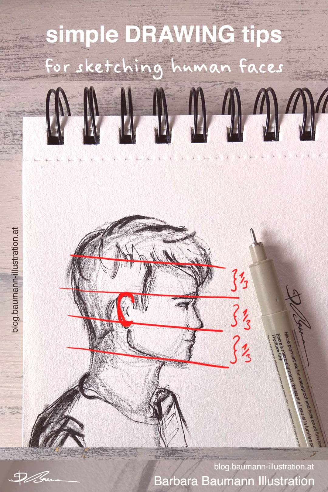 Step by step drawing of a human side face with pencils and ink pens Learn how to draw a human male