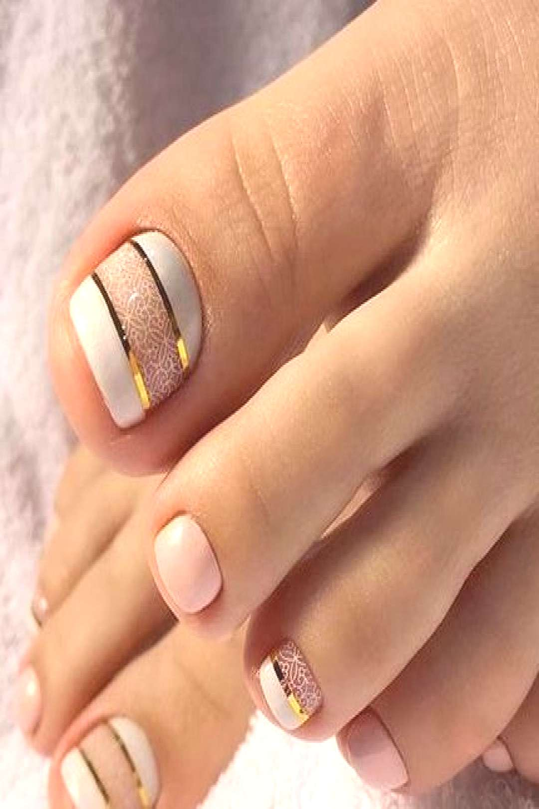 Stunning toe nail design with white and pink colors, Nail Designs