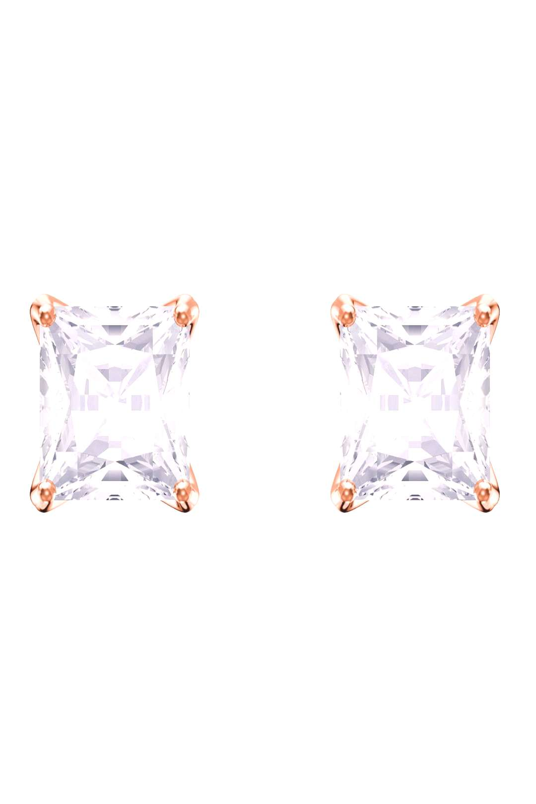 Swarovski Attract Stud Pierced Earrings - Rose/Crystal