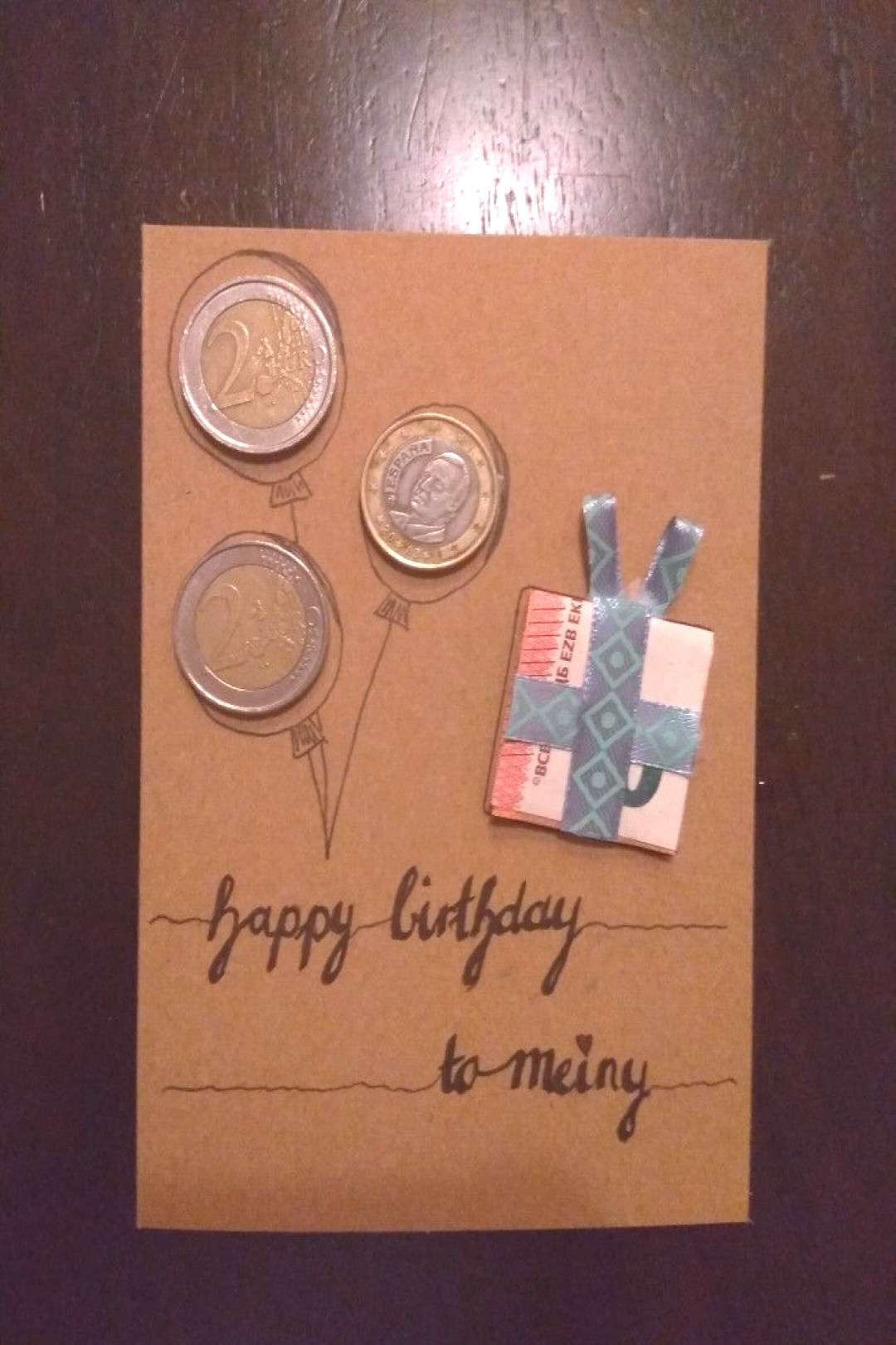 The money could be their age. $20 bill as gift box and a nickel and 3 pennies co...#age