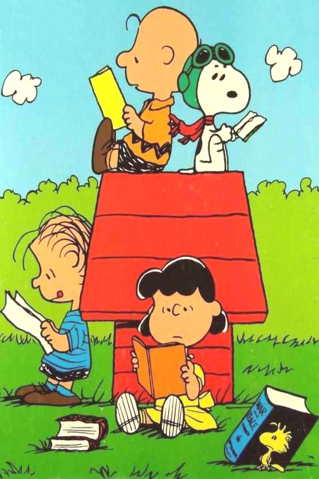 The Peanuts Gang catching up on their reading! ♡ See More pic... The Peanuts Gang catching up on