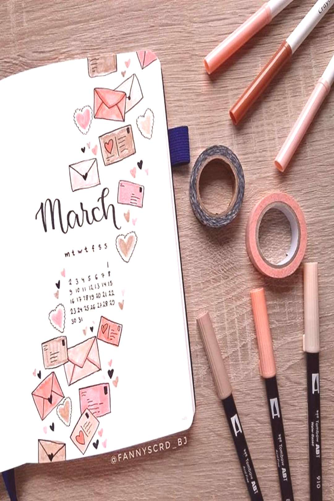 This aesthetic and creative bullet journal page cover idea is created by artist @fannyscrd_bj on IG
