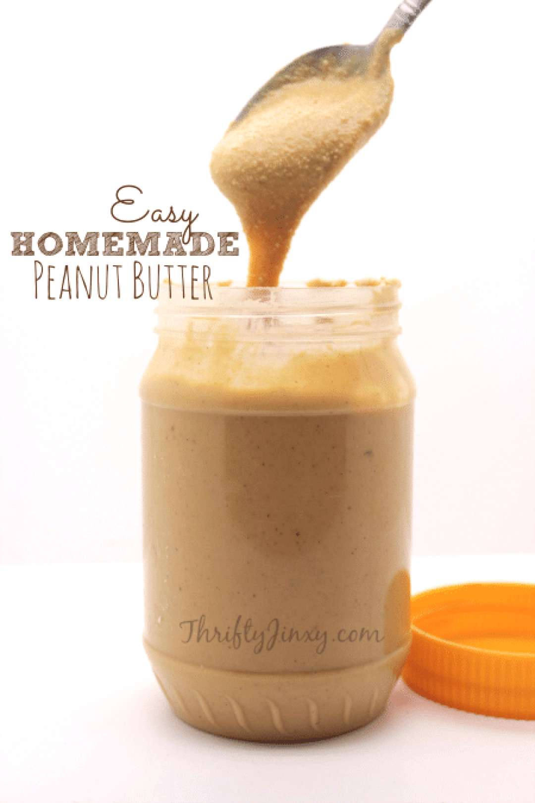 This Easy Homemade Peanut Butter Recipe whips up in your food processor in five minutes and only us