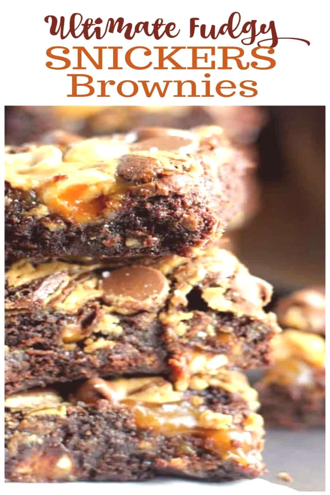 Ultimate Fudgy Snickers Brownies - Swirls of creamy peanut butter and caramel, with a generous sp