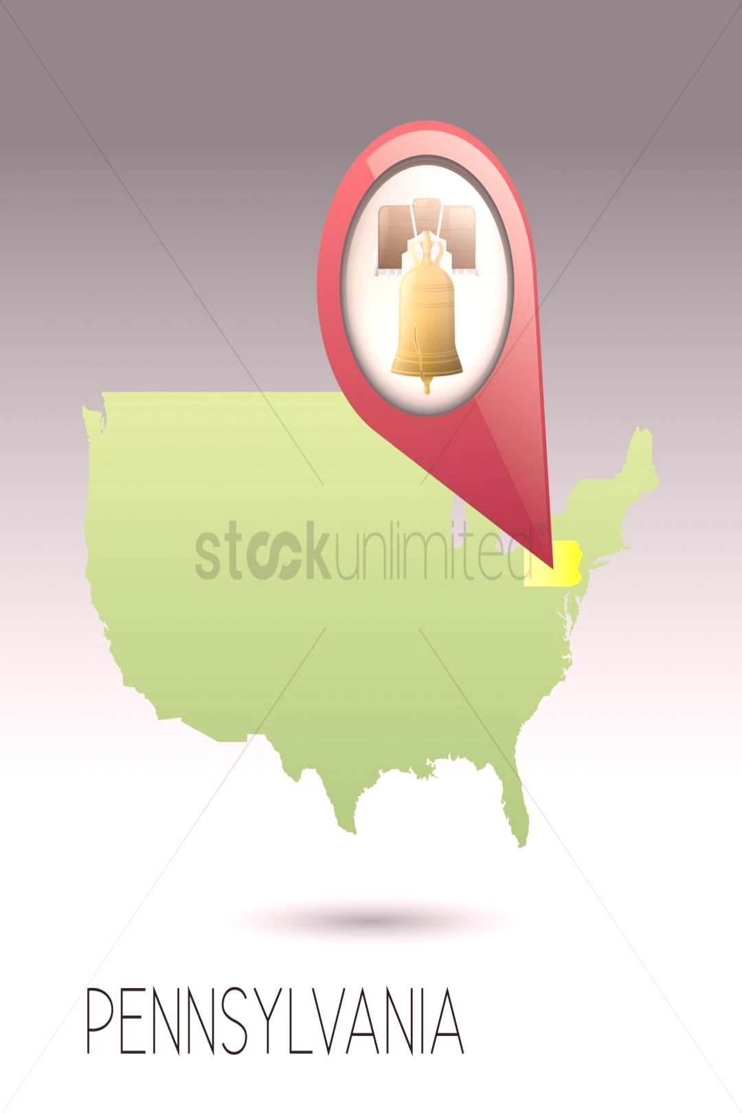 Usa map with pennsylvania state vector illustration ,